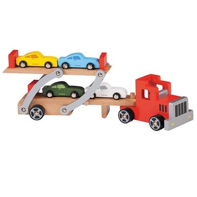 Autotransporter met 4 auto's; rode cabine