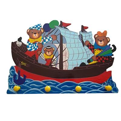 Kapstok boot blauw zeil; 4 pennen