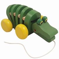 Trek krokodil groen met gele wielen