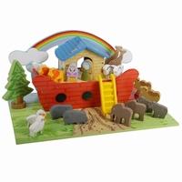 Ark van noach rood met grondplaat; inclusief dieren