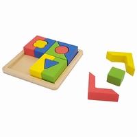 Blokken puzzel met vormen dik
