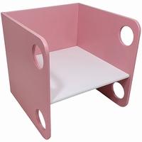 Kubusstoel roze met witte zitting; 12 MM