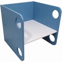 Kubusstoel blauw met witte zitting; 12 MM